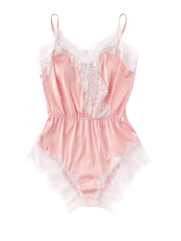 6167a8e27f SweatyRocks Women s V Neck Nightwear Lace Romper Pajamas Sexy Sleepwear  Romper Lingerie