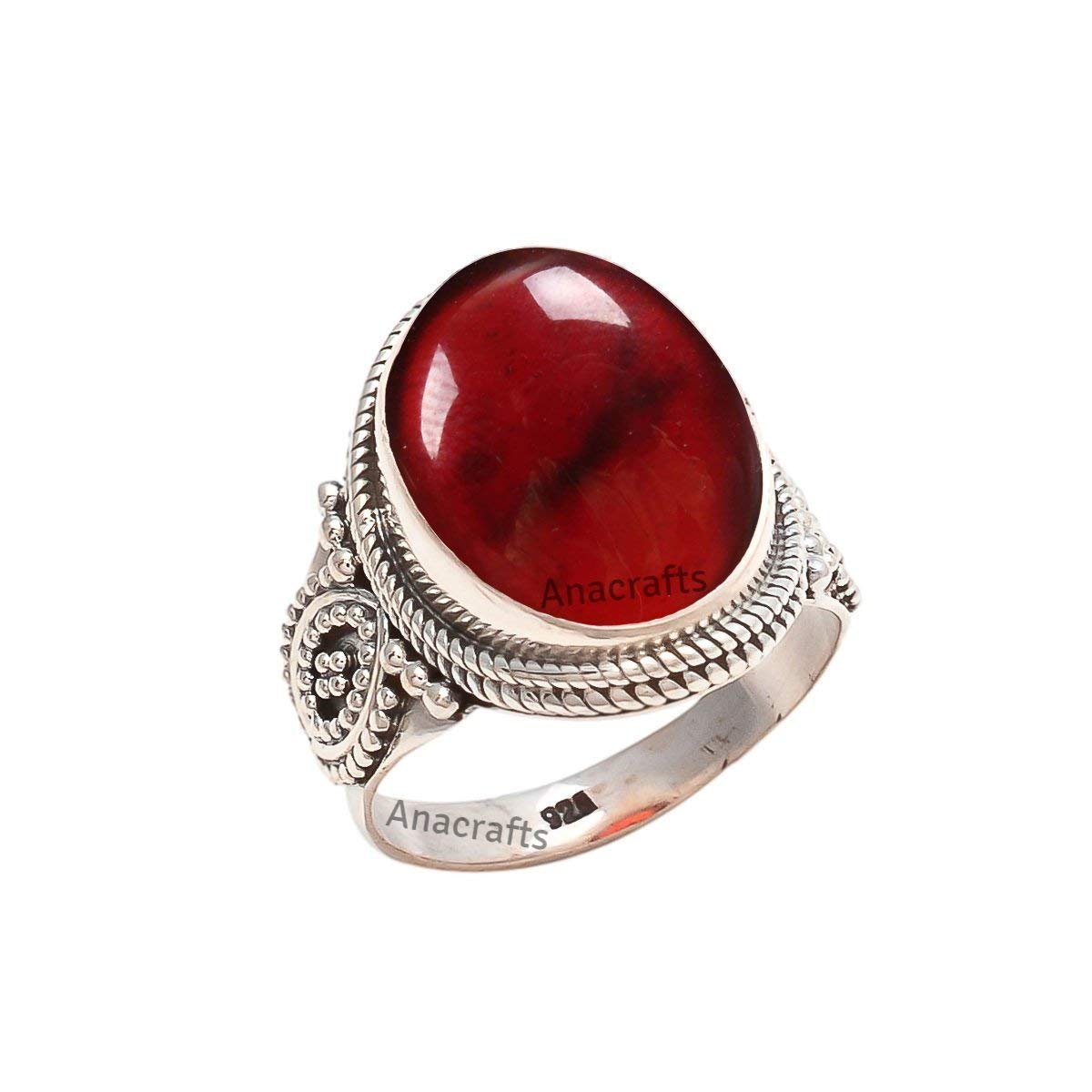 Jewelryonclick Oval Cut Designer Garnet Sterling Silver Ring For Men /& Women Size US 4 to 12