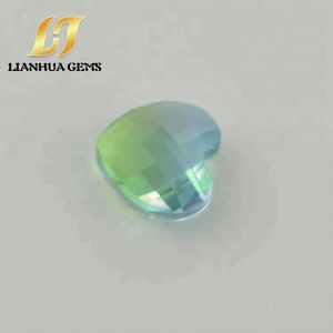 Factory direct hot sale colored green blue heart shape watermelon tourmaline rough gemstone