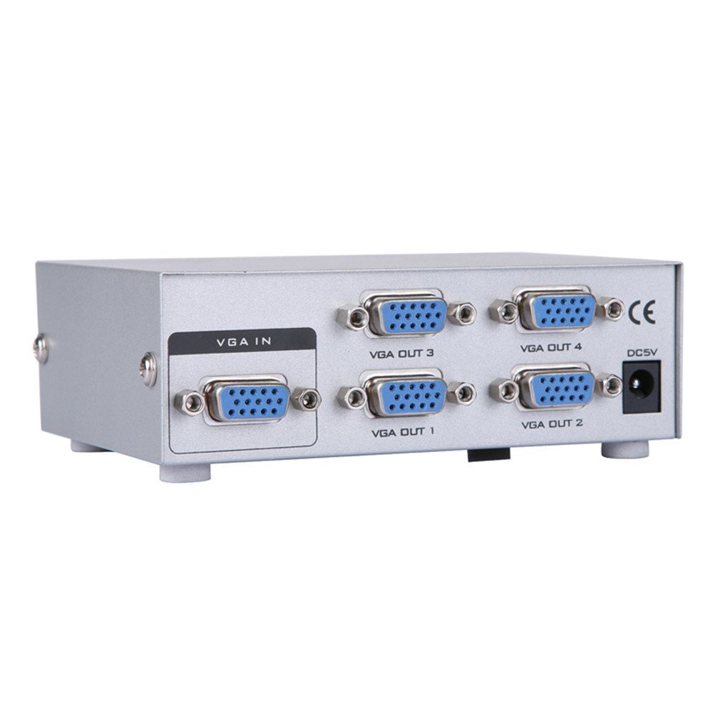 Eazy2hD 4-Port VGA Video Splitter Switch Box Sharing 1 PC to 4 Monitors Support Bandwidth at 150MHz (1 in 4 out) VS027