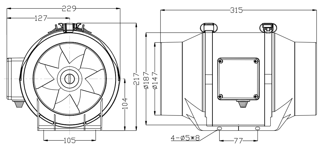 2018 Wholesale High Quality 6 8 10 12 Inch Inline Duct Fan