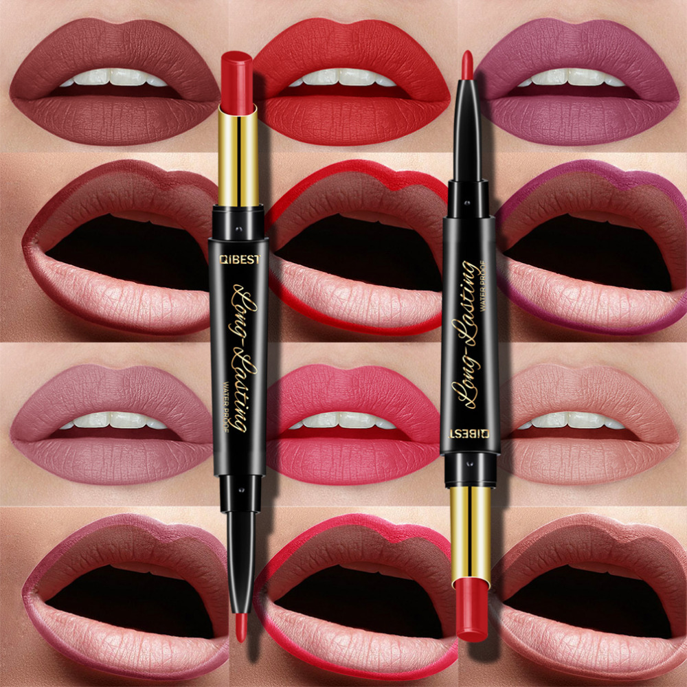 Alibaba.com / QIBEST 2 In 1 Double Head Lipstick Lip Liner Pencils Waterproof Long Lasting Pigments Nude Lipliner Pen