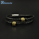 GC-BC0061 Double Layer Cz Micro Pave Copper Charm Leather Bracelets & Bangles Men Jewelry Genuine Leather Wrap Bracelet