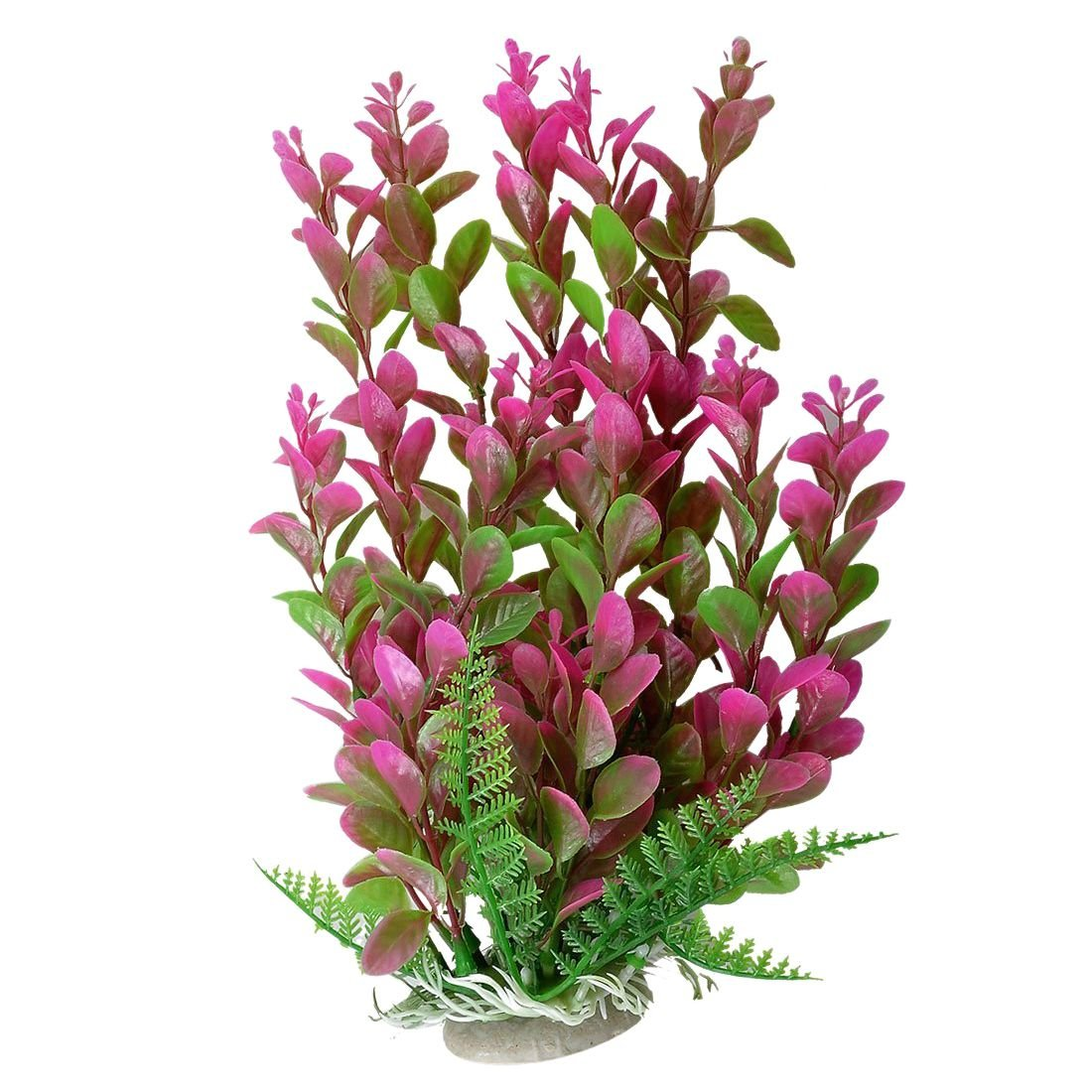"TOOGOO(R) 10.2"" Height Fish Tank Green Fuchsia Underwater Plastic Plant Grass Ornament"