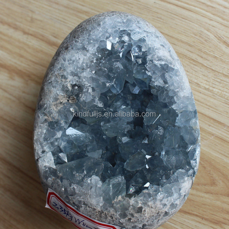 Decorative High Quality Dark Blue Celestite Crystal Geodes Calcite Quartz Cluster