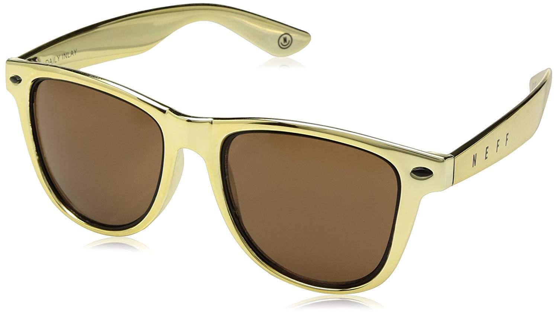 neff Daily Inlay Shades Rectangular Sunglasses, Gold/Black, 6 mm