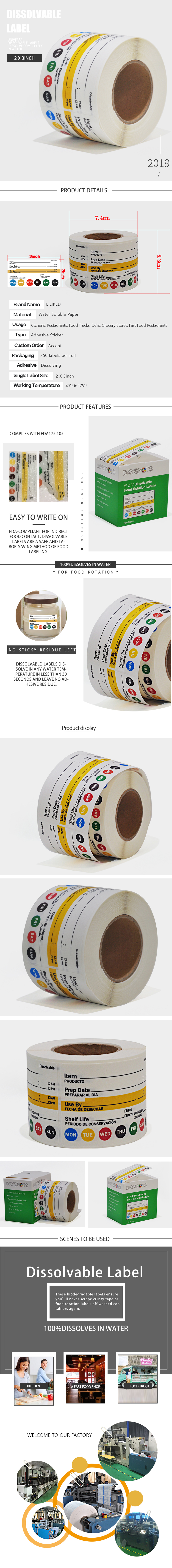 Universal dissolvable Label with Item Prep use by and shelf life