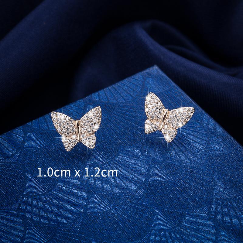 Sparkling Cubic Zirconia CZ Zircon Crystal Butterfly Stud Earrings for Women or Girls, N/a