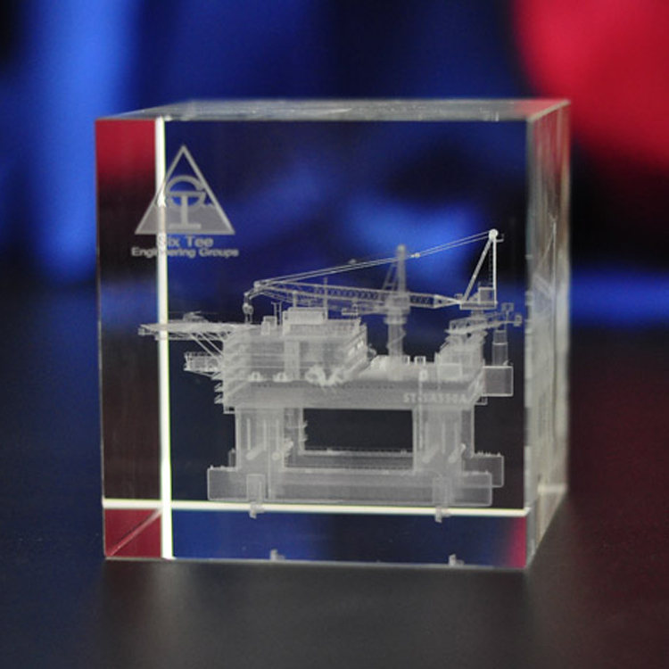 Crystal laser interne carving custom 3D model building boot mooring openingsceremonie herdenkingsgift veld goed toren