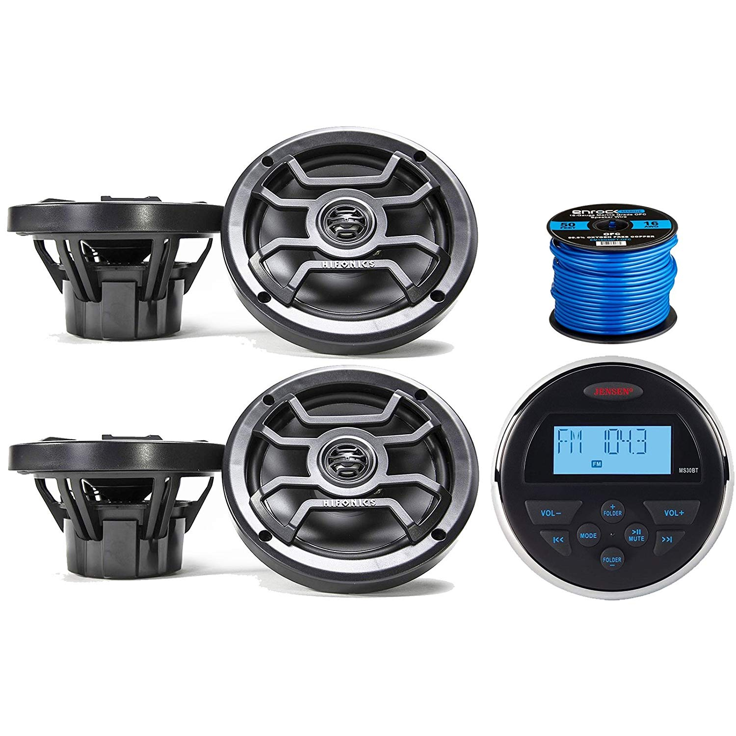 "Jensen MS-30BTR Mechless Compact Waterproof Stereo w/Bluetooth & USB Inputs, 4 x Hifonics 6.5"" Marine 2-Way Speakers w/Grills (Black), Enrock Marine-Grade 50 Foot 16-Gauge Speaker Wire"