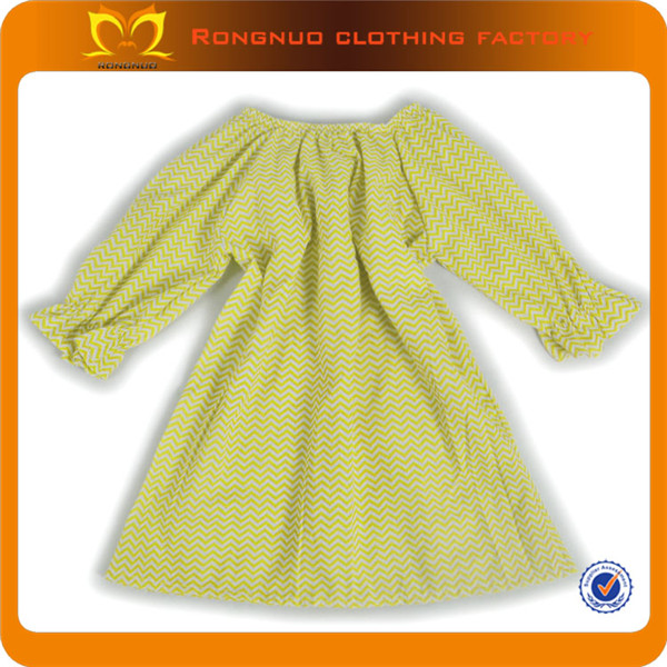 Hot Sale Yellow &White Chevron Tunic Ruffled Long Sleeve Shirts Toddler Baby Girl Boutique Cotton Clothing