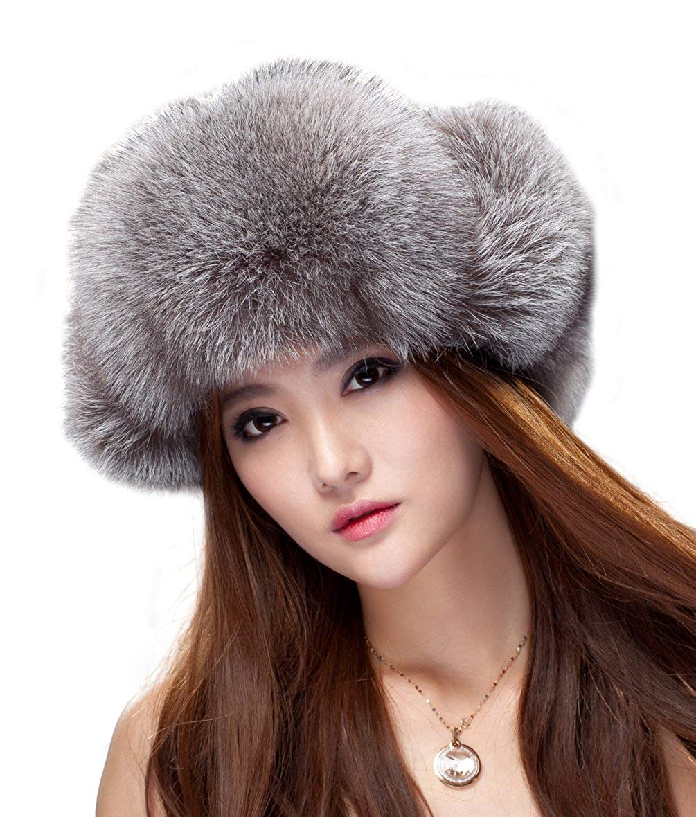 b535df0522402 Buy Womens Fox Fur Russian Ushanka Trapper Hat with Pom Poms in ...