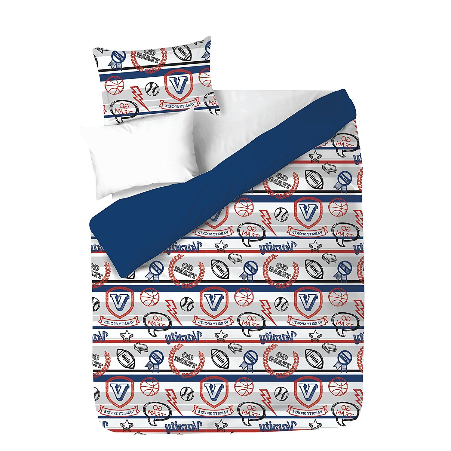 3 Piece Boys White Grey Red Navy Blue Varsity Sports Themed Comforter Full Set, Kids Athletic Sport Star Bedding, Fun Horizontal Stripe Basketball Baseball Football Lightening Bolt Team, Microfiber