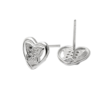 Beadsnice ID 28552 silver stud heart micro pave CZ latest earring design