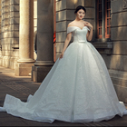 RSM66583 off shoulder luxury wedding dress with lace long white wedding dresses