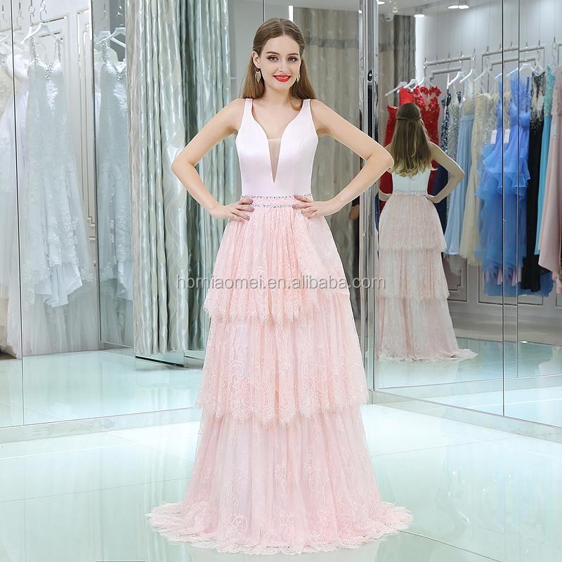 2017 Venta Caliente De Color Rosa Pastel Vestido De Noche Longitud Piso Con Cuello En V Profundorosa Suave Cumpleaños Fiesta Vestido Noche Vestido De