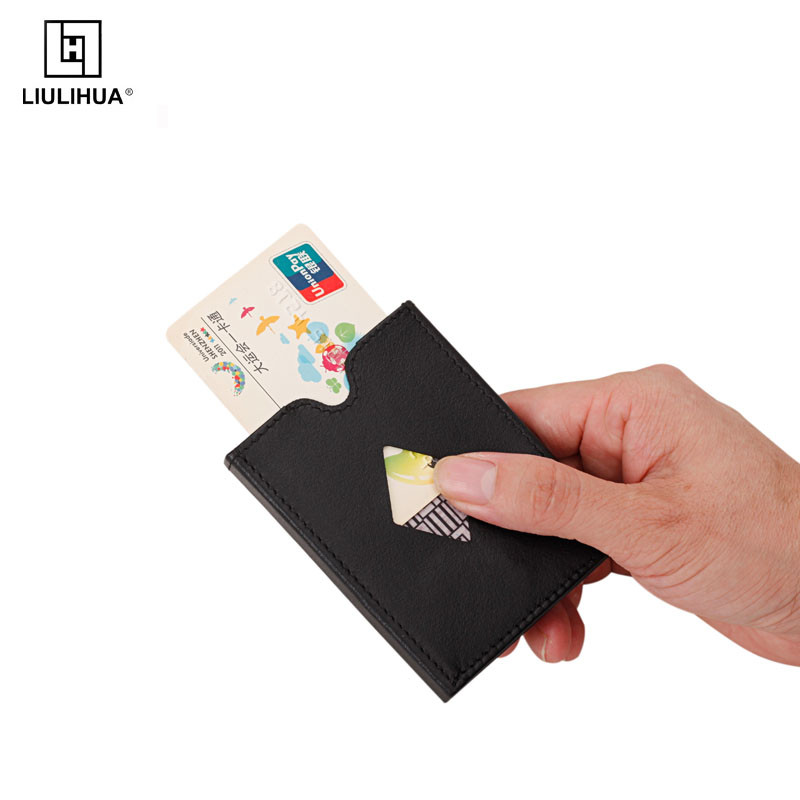 LIULIHUA tri-fold metal credit card holder genuine leather wallet