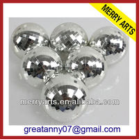 China new 4 inches mirror glass christmas flat ball ornaments