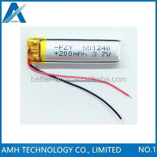 3.7v 200mah battery 501240 for Li-polymer rechargeable battery