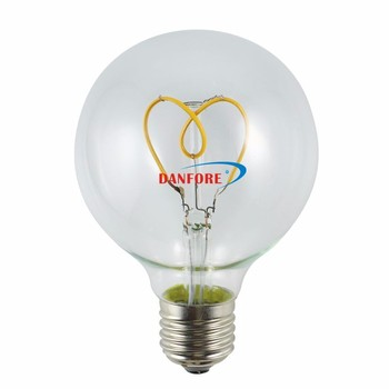 3W Heart shape filament Dimmable G80 G25 Soft Spiral LED Filament Bulb