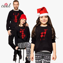 2019 Black  Reindeer Pattern women kids Xmas Cotton Pullover  family matching Christmas Sweater