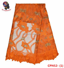 CPN52-1 Orange Embroidered French Net Lace, Dubai Style French Chantilly Lace Saree For Wedding