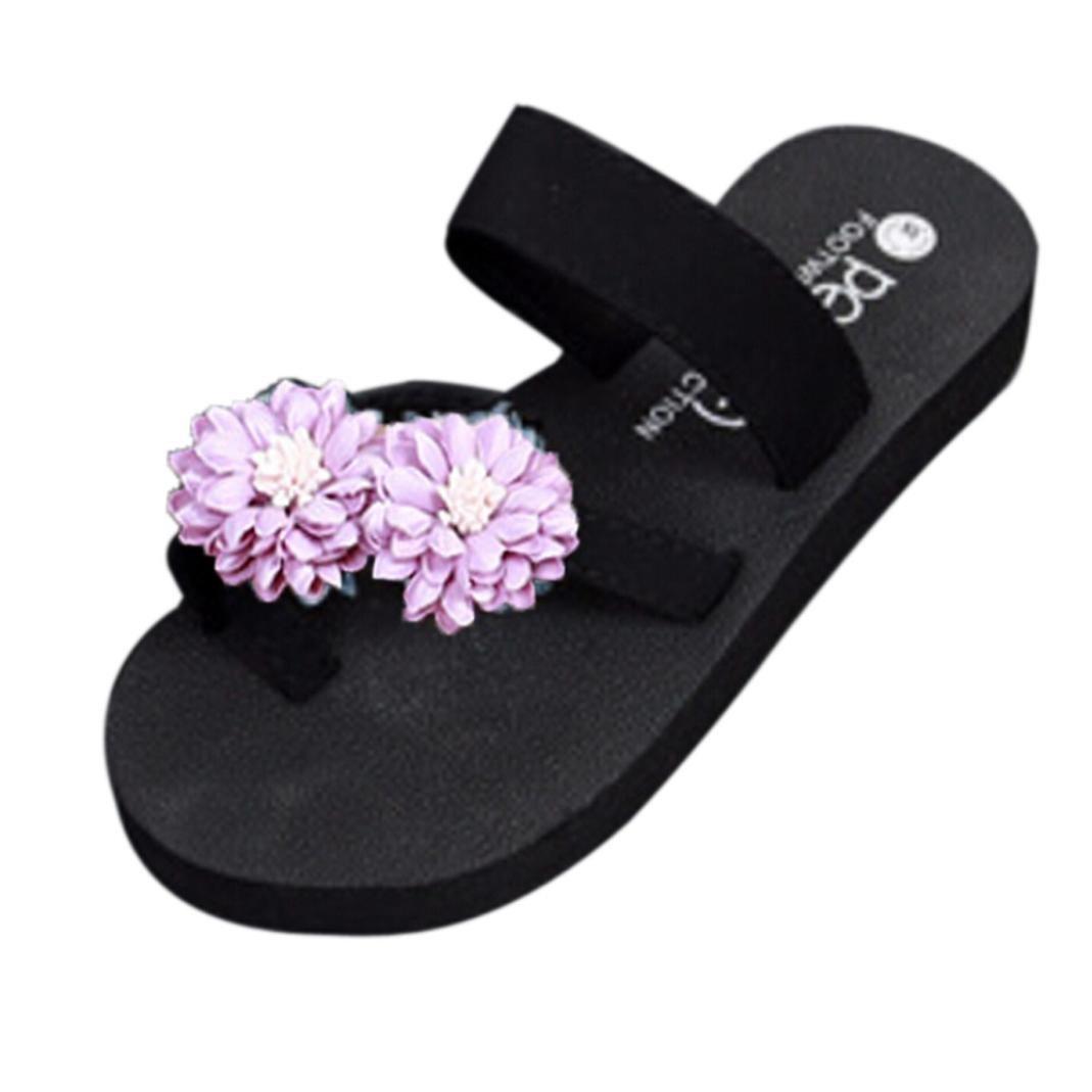 Clearance! Hot Sale! ❤️ Women Flip Flops, Neartime Summer Beach Sandals Platform Bath Slippers Wedge Fashion Leisure Shoes (❤️US7, Purple)