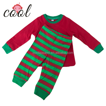 Wholesale adult kids girls red and green white striped 100% cotton matching family christmas pajamas