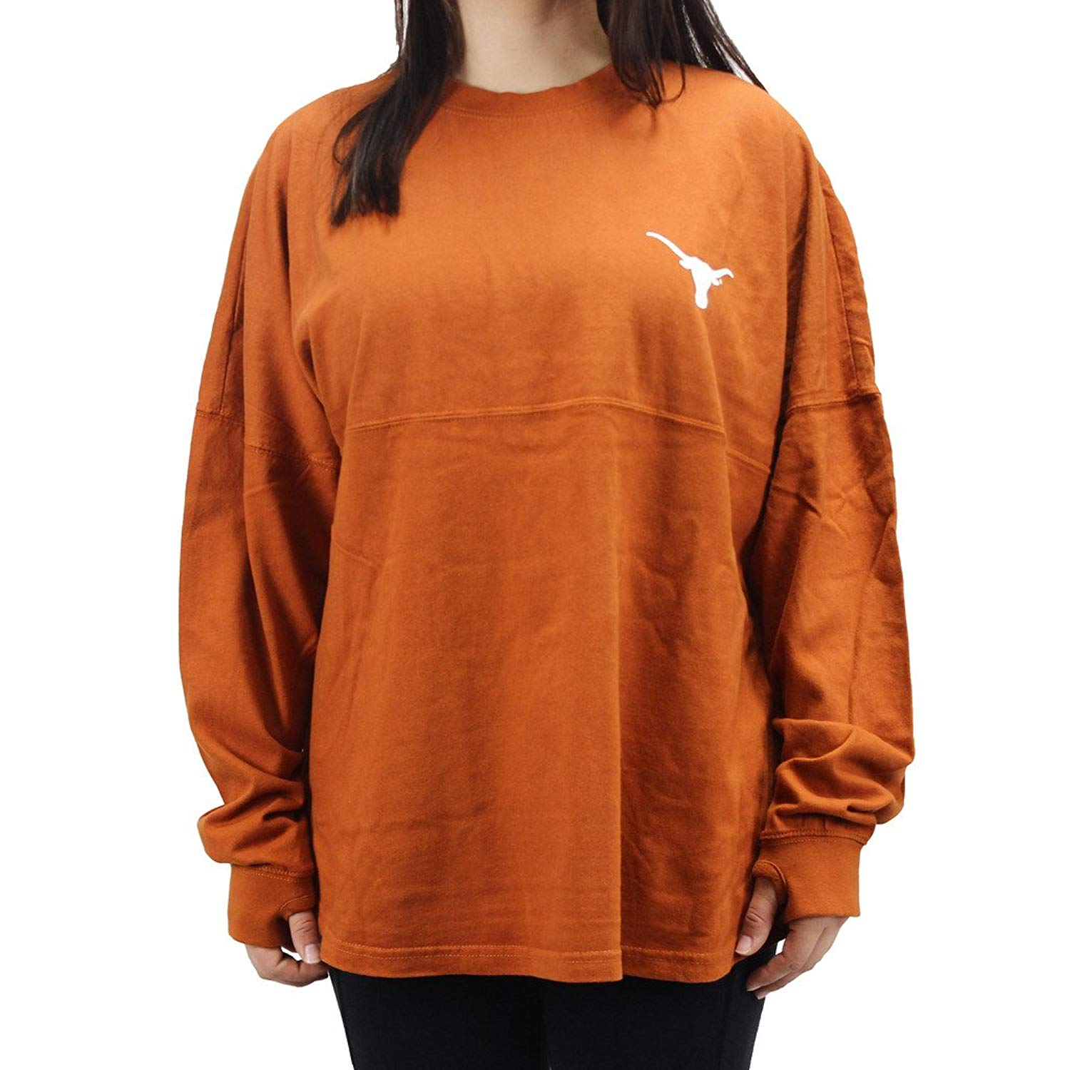 Get Quotations · Press Box Pressbox Women  s NCAA Texas Longhorns Varsity  Jersey Sweeper Oversized Shirt 62a1ecc51