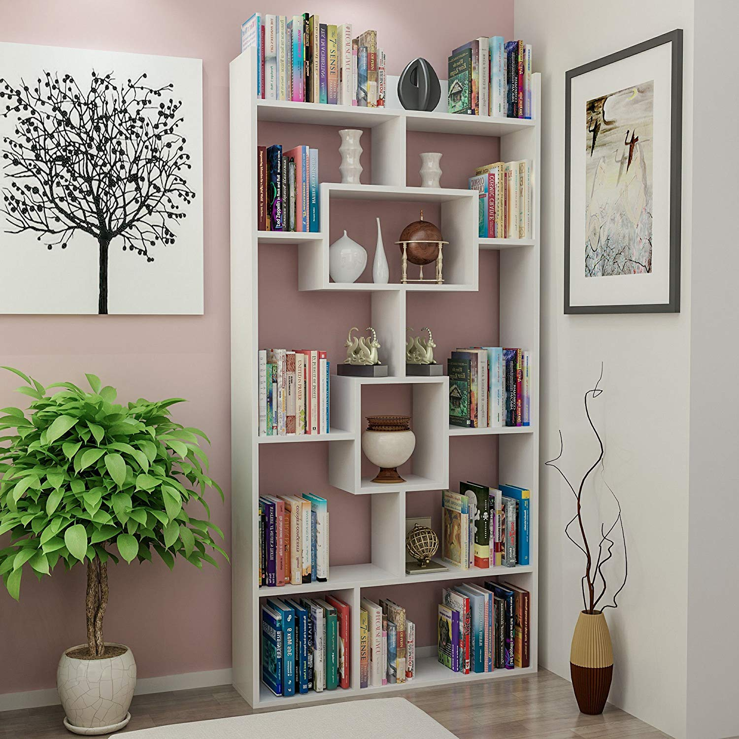 """Bookshelf (71.7"""" x 34.5"""" x 8.7"""") Wall Mountable Invisible Brackets Easy to Hang White Decorative Stylish Functional Elegant More Shelf 100% Melamine Coated Particle Board Size - MULTI VARIANTS in STOR"""