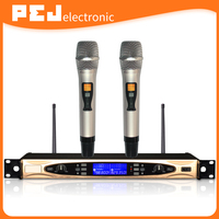Professional Dual Channel UHF Wireless Microphone System with 2 microphones for karaoke up to 100 meter work range