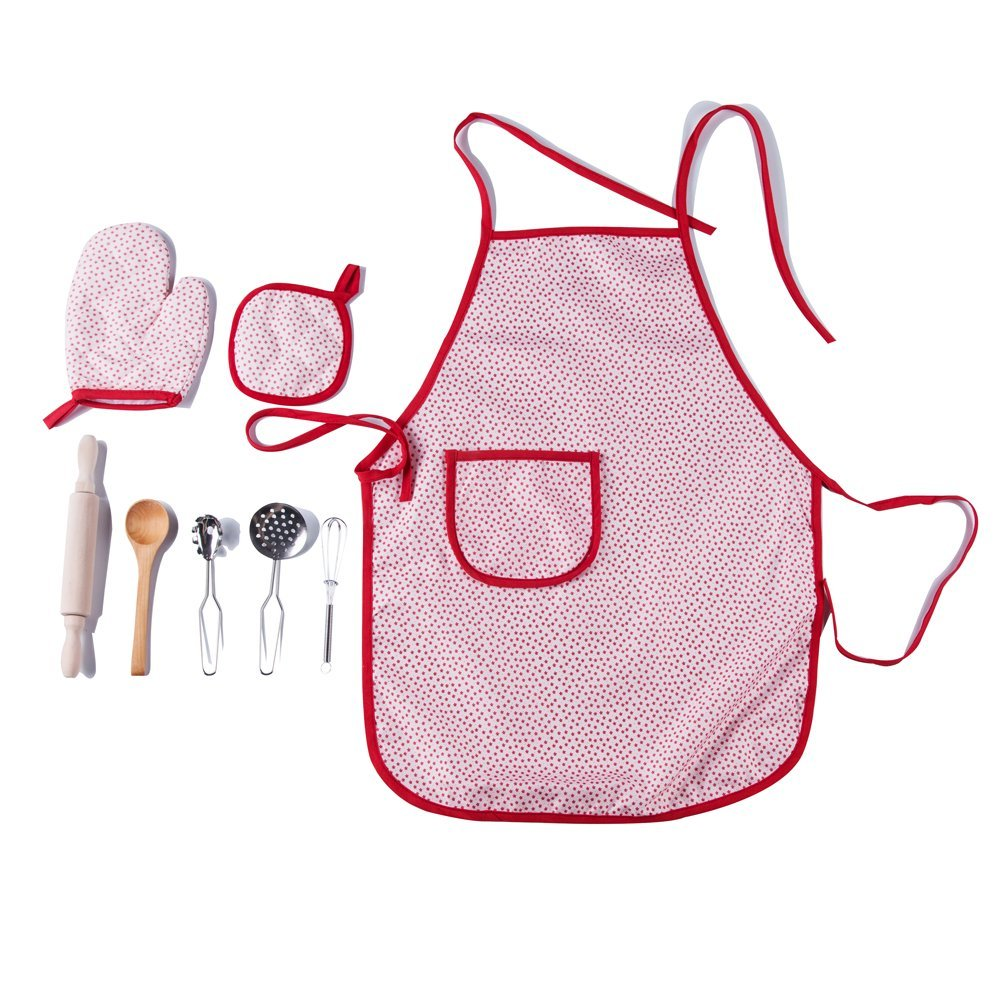 Kidcia 8 Pcs Pretend Play Toys Set - Little Chef Role Play Costumes for Kids - Play Kitchen with Child Apron and Cooking Utensils for Children