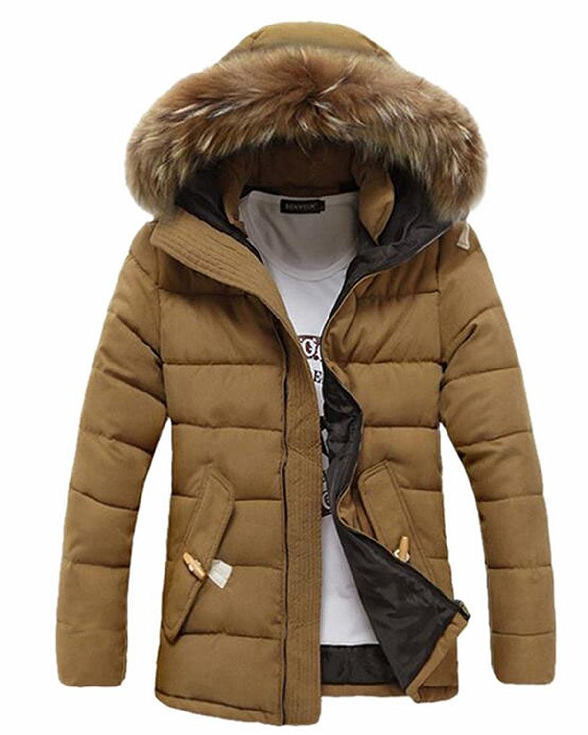 6719a6cae2e Get Quotations · CBTLVSN Mens Fur Hooded Quilted Padded Coat Full Zip Jacket  Winter Coats