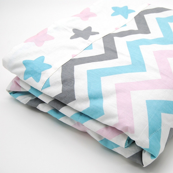 2016 High Quality Soft Design Blue Chevron Printed Personalized Children Quilt