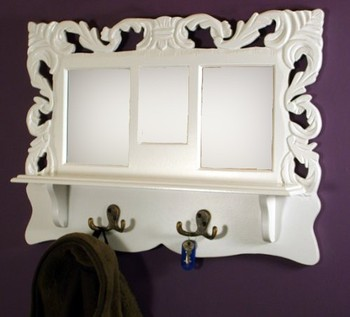 Shabby Chic White Wooden Wall Shelf With Coat Hooks Mirror Photo Frames
