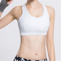 Plain white color girl sexy gym running sports bra top ; fitness top woman