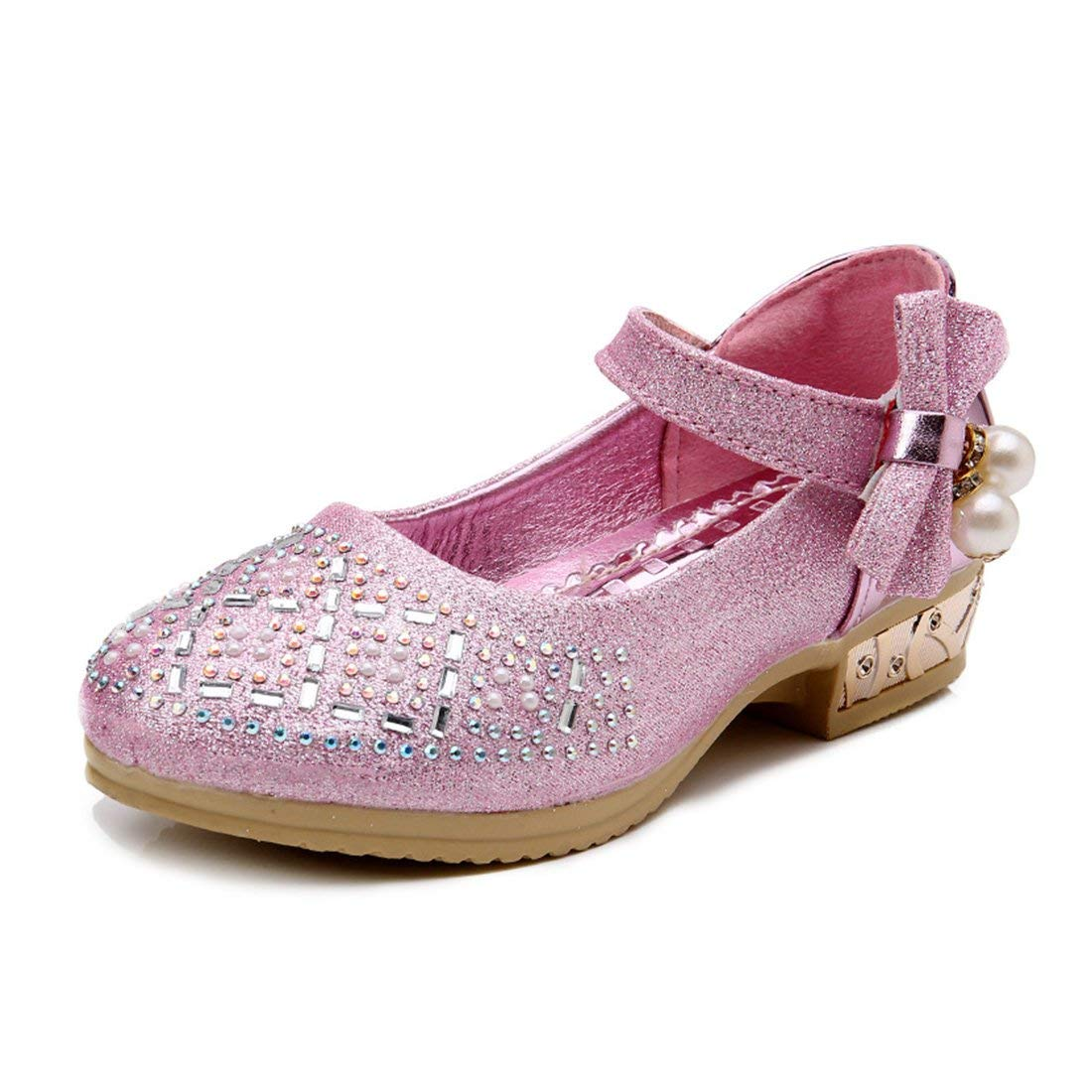 YIBLBOX Girls Kids Toddler Dress up Wedding Cosplay Princess Shoes Glitter Surface Mary Jane Low Heel Shoes