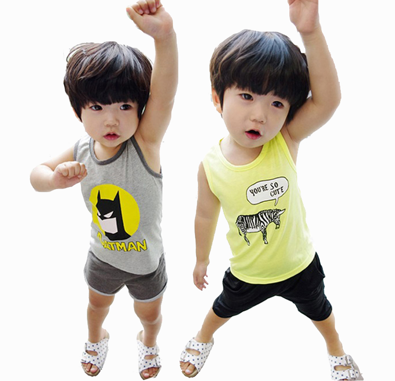 2015 Hot Kids Clothes Boys Summer Set Children's Set Boys Undershirt Shorts Clothing set Children's Sport Suit boys clothes