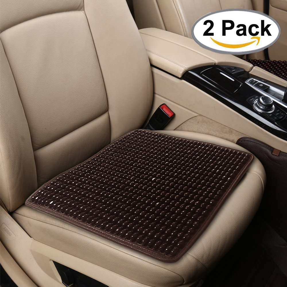 Beaded Seat Cover 2PC Comfort Wooden Beads Cushion Cool Car Interior Pad Mat