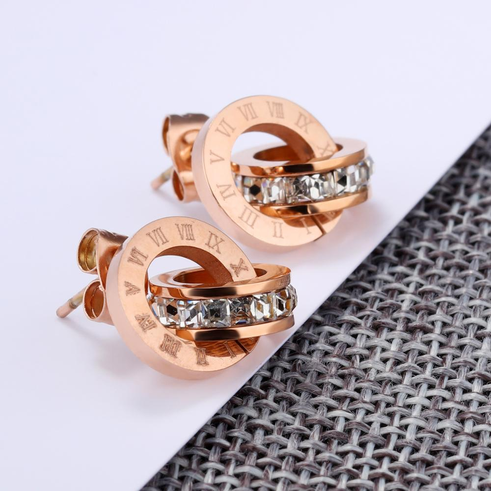 Wholesale Fashion Jewelry Rose Gold Stud Women Latest Earring