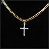 Fashion gold necklace mini cross bling bling