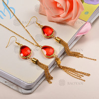 BAOYAN Artificial Crystal Rhinestone Handmade Gold Plated Stainless Steel Chain Jewelry Set