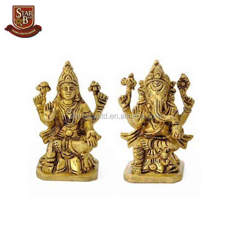Factory custom made polyresin Lakshmi ganesha messing paar standbeeld