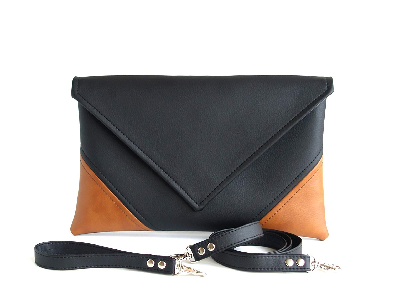 Get Quotations Envelope Handmade Clutch Black Handbag Brown Purse Vegan Gift For Women Faux Leather Handbags
