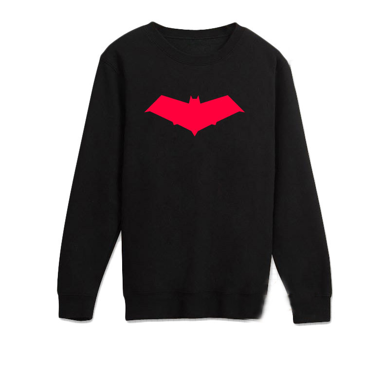 Mens Casual Summer Batman:Under the Red Hood Jason Todd The Red Hood T-shirts Print Cotton Long Sleeve Tops Tee Shirts Black