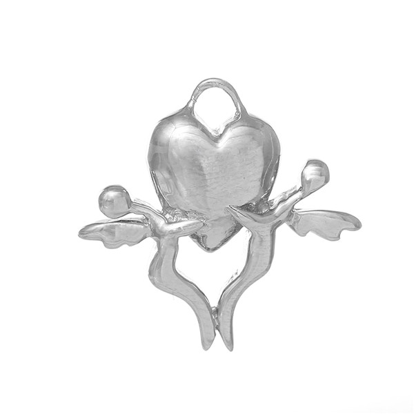 925 Sterling Silver Charm Pendants Angel Heart Platinum Plated 17mm x 17mm