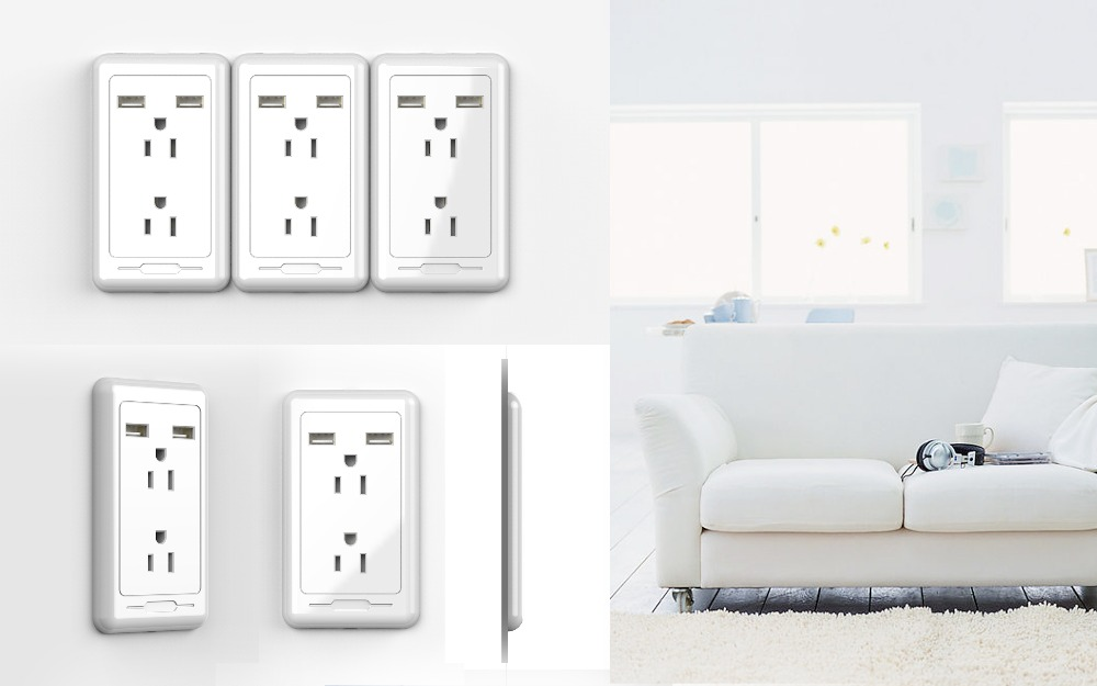 2016 Standard Wall Mounted US Power Outlet Socket in Wall Socket with USB Port