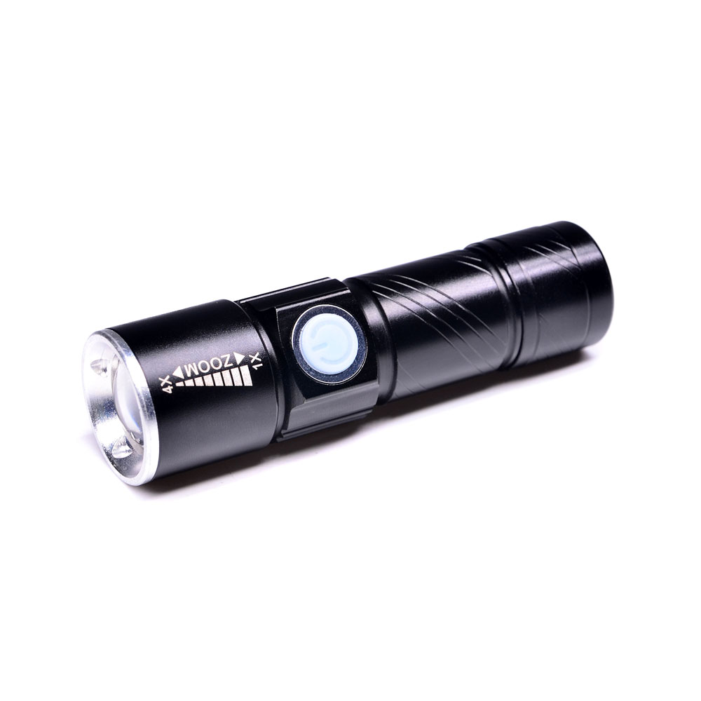 Al por mayor Japón Mini portátil de 3 modos de Zoom de luz de Flash 5W Super brillante de aluminio táctico linterna USB recargable LED linterna