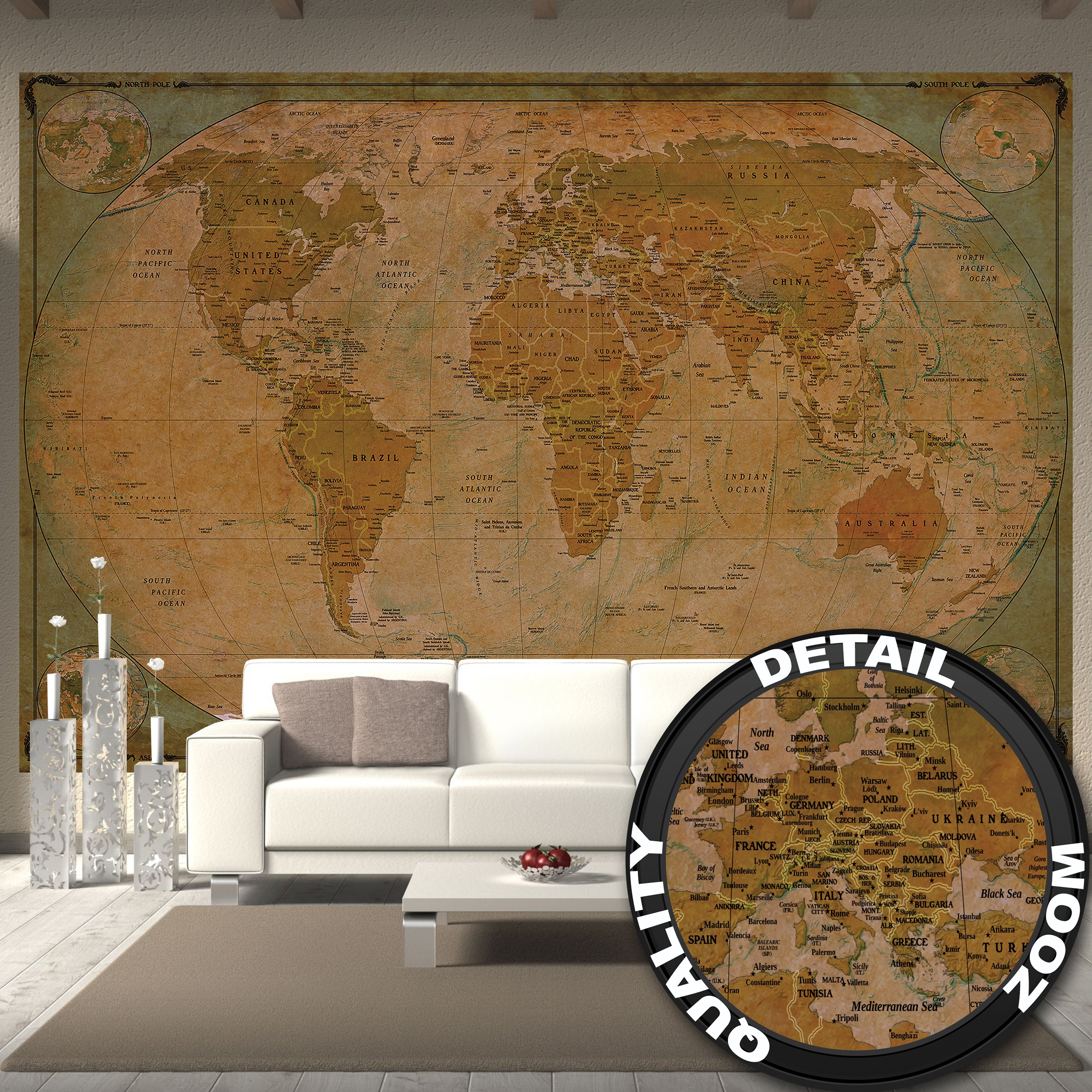 Wallpaper map of the world – wall picture decoration Historical World Map Terrestrial Globe Old School Antique Old Map Used Look Retro Vintage I Wallpaper poster wall decor by GREAT ART 132.3 x 93.7