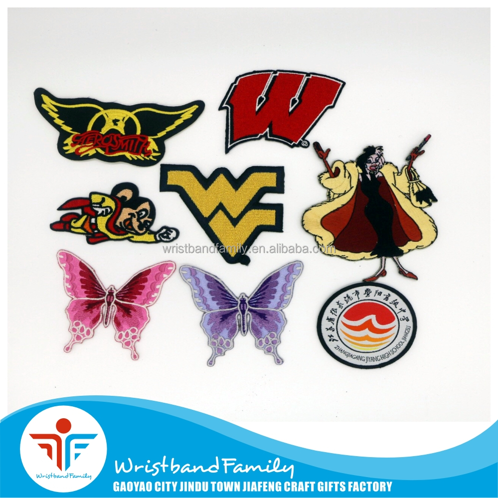 Wholesale Custom Heat Press Twill Merrow Border Embroideried Patches
